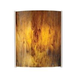 Embrace Glass Panel Shade Finish: Caramel (Thomas Lighting White Drum)