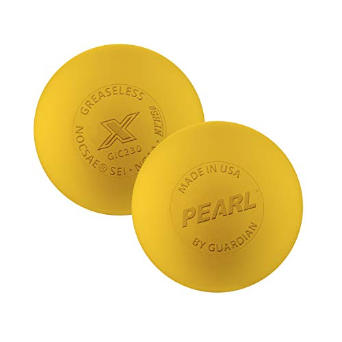 The Pearl by Guardian - Pearl X Greaseless Lacrosse Balls (Yellow, 3 Pack)