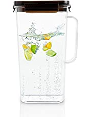 LocknLock Fridge Door Water Jug Pitcher with Handle BPA Free Tritan with Flip Top Lid Perfect for Making Teas and Juices, 2.2 Quarts/71 Ounce, Black