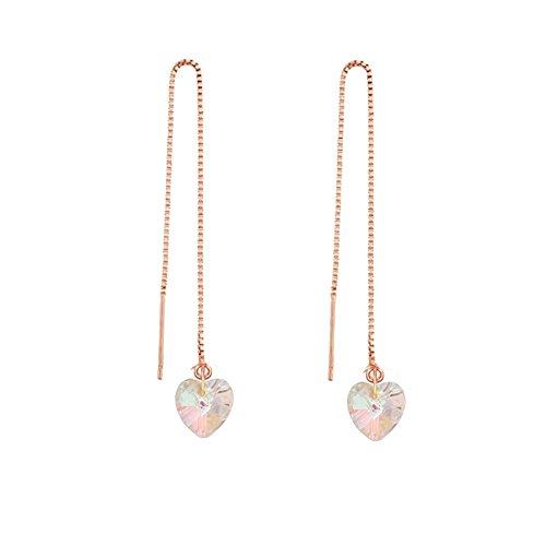 MANZHEN Tri-color Open Heart Threader Drop Earrings (AB-rose - Heart Rose Ab