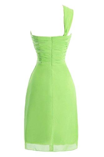sunvary a-line One-Shoulder Ruched gasa cóctel vestidos Homecoming Light Lime