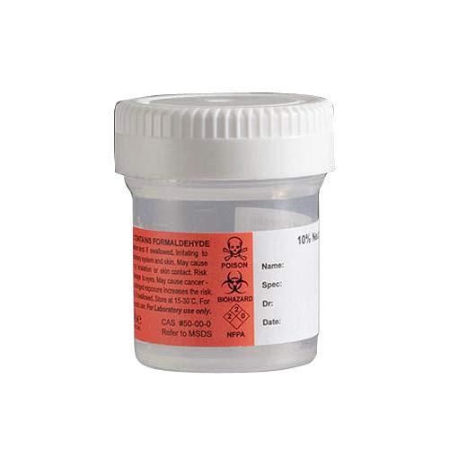 Globe Scientific 6527FL Pre-Filled Formalin Container, 120 ml, PP