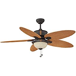 Litex E-EH52NON5C1S Earhart Collection 52-Inch Indoor/Outdoor Ceiling Fan with Five Bamboo ABS Blades and Single Light Kit with Scavo Glass