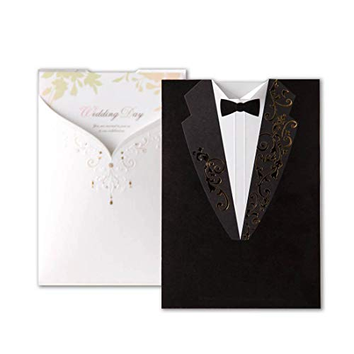 Laser Cut Wedding Invitations Cards 20pcs Black&White Groom and Bridal Blank Tri-fold Inserts Printable Personalized for Engagement Marriage Bridal Shower (Set of 20 Pieces) ()