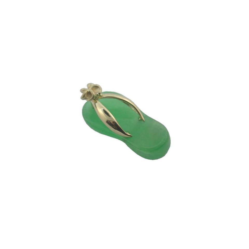 Green Jade Flip Flop Plumeria Strap Sandal, 14k Gold
