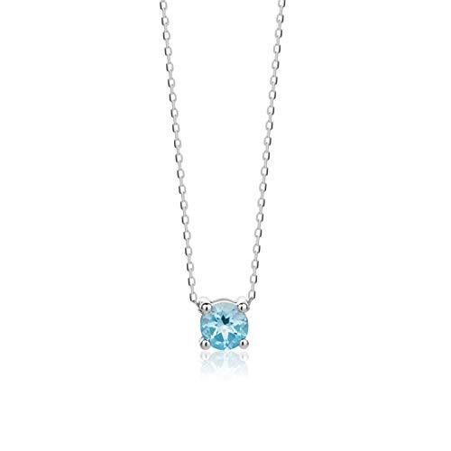 Orovi Collar De Oro Blanco Con Colgante De Piedra De Nacimiento Y Topacio Azul De 14 Quilates 585 Longitud 45 Cm