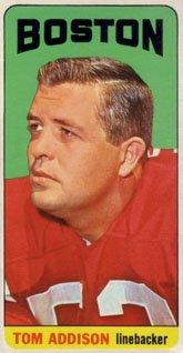 1965 Topps Regular (Football) Card# 1 Tom Addison of the Boston Patriots VG Condition