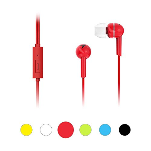 Genius Simple Wired In-Ears Headphones with Microphone HS-M300. Sports Headset, Crystal Clear and Sound, Extra Bass, for iPhone, iPod, iPad, Tablet, MP3 Player, Andorid Smartphone (Red) - Genius Professional Headphone