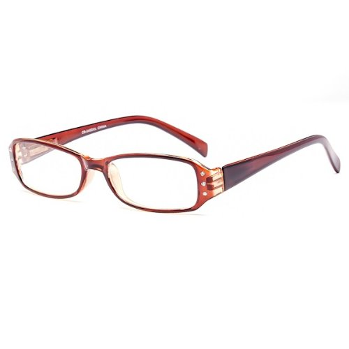 Modern Fashion Optical Reading Style Rhinestones Clear Lens Eye Glasses Frames (Brown) (Brown Reading Glasses Rhinestone)