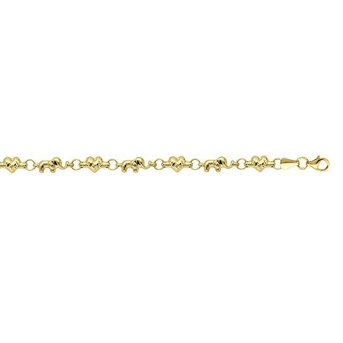 Gold Stampato Elephant Bracelet - 14k Yellow Gold Alternating Baby Elephant and Sparkle-Cut Heart Stampato Bracelet - 7.25 Inch