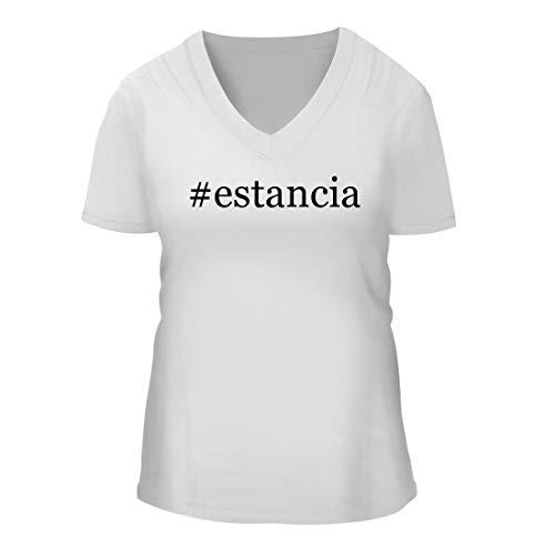 Estancia Grigio Pinot - #Estancia - A Nice Hashtag Women's Short Sleeve V-Neck T-Shirt Shirt, White, Large