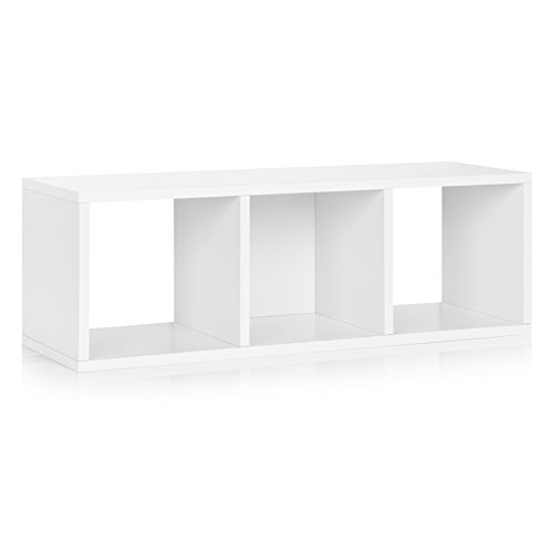 Way Basics Eco 3 Cubby Storage Bench and Stackable Organizer, White (made from sustainable non-toxic zBoard paperboard)