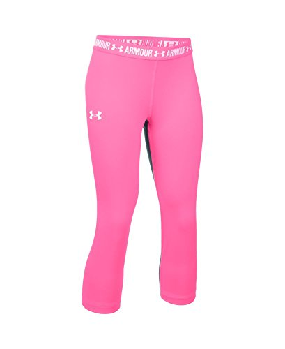 Under Armour Girls' HeatGear Armour Solid Capri, Pink Punk/White, Youth X-Small