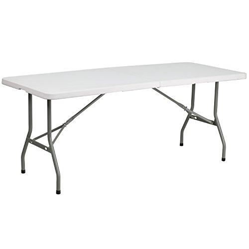 (Flash Furniture 30''W x 72''L Bi-Fold Granite White Plastic Folding Table)