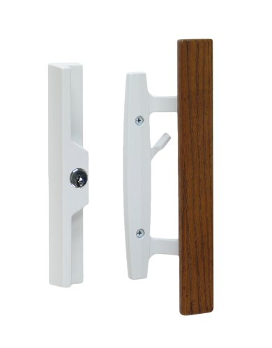 "Interior Door Mortise Lock (Lanai Sliding Glass Door Handle and Mortise Lock Set with Oak Wood Pull in White Finish, Includes Key Cylinder, Standard 3-15/16"" CTC Screw Holes, 1-3/4"