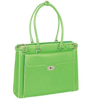 Franklin Covey Green The Winnetka Ladies Leather Briefcase by McKlein, Bags Central