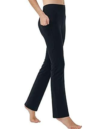 puutiin Women's Bootleg Yoga Pants with Hidden Pockets Tummy Control Running Legging Long Bootcut(Black,XS