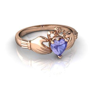 14kt Gold Tanzanite 5mm Heart Claddagh Ring