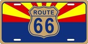 Smart Blonde Route 66 Arizona State Flag Novelty Vanity Metal License Plate Tag Sign