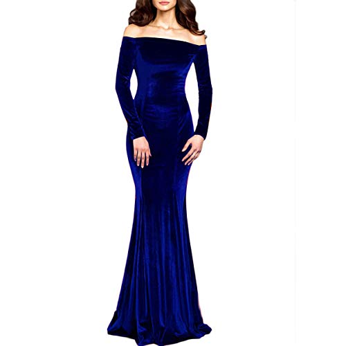 Velvet Gown Dress - TTYbridal Off The Shoulder Velvet Evening Gown Long Prom Party Dresses with Two Sleeves 2 Royal Blue