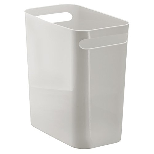 mDesign Slim Rectangular Small Trash Can Wastebasket, Garbage Container Bin with Handles for Bathrooms, Kitchens, Home Offices, Dorms, Kids Rooms — 12 inch high, Shatter-Resistant Plastic, Light Gray (Plastic Waste Bins)
