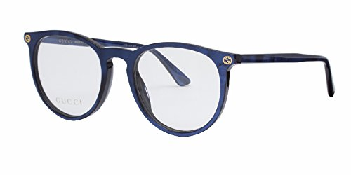 1f38028c9a Gucci GG 0027O 005 Blue Plastic Round Eyeglasses 50mm - Buy Online in Oman.