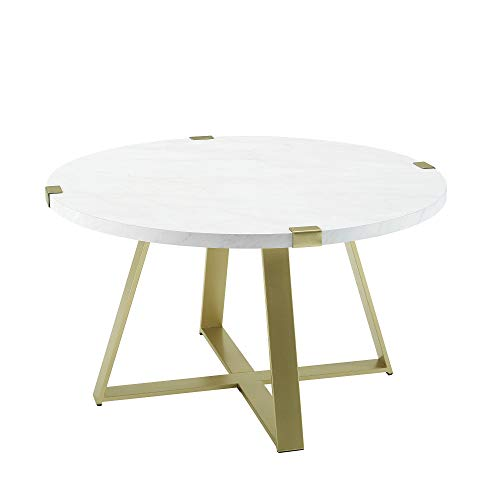 WE Furniture Mid Century Modern Round Coffee Table Faux White Marble Top Gold Base Simplistic Accent Cocktail Table