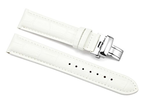 White Alligator Leather Strap (iStrap 18mm Alligator Grain Calf Leather Watch Band Strap W/ Steel Butterfly Deployment Clasp)