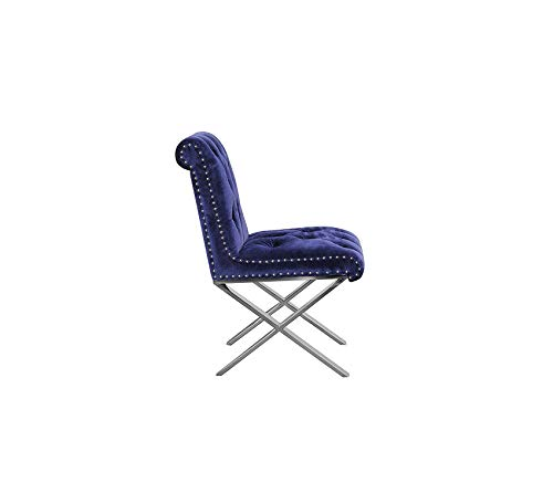 Wood & Style Furniture Navy (Set of 2) Claire Dining Chair Velvet, Home Office Commerial Heavy Duty Strong Décor