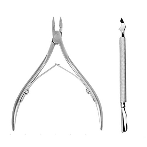 Sinide Professional Cuticle Nipper with Cuticle Pusher - Stainless Steel Cuticle Remover and Cutter- Durable Manicure and Pedicure Tool Perfect for Fingernails and Toenails