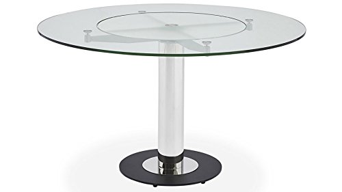 - Zuri Furniture Fiore Modern Round Glass Dining Table With Chrome Base