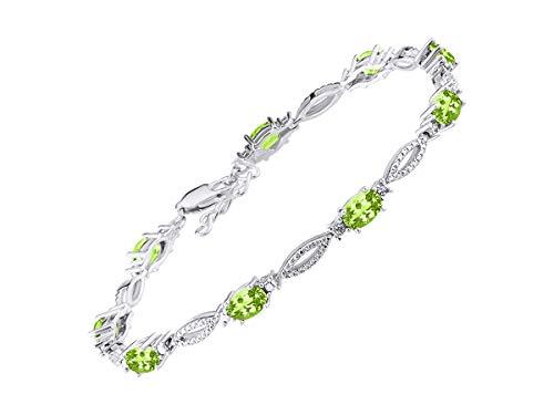 Stunning Peridot & Diamond Tennis Bracelet Set in Sterling Silver - Adjustable to fit 7