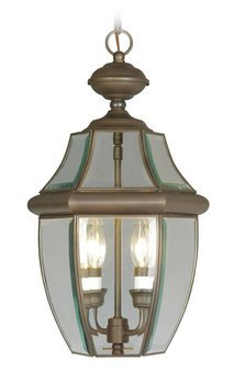 Livex Lighting 2255-07 Monterey 2 Light Outdoor Bronze Finish Solid Brass Hanging Lantern  with Clear Beveled Glass - Pendant Bound Glass Lantern Light