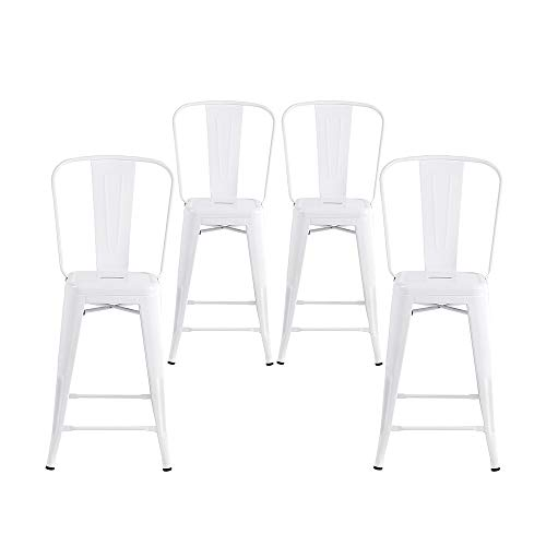 Buschman Set of 4 White 24 Inch Counter Height Metal Bar Stools with High Back, Indoor/Outdoor ()