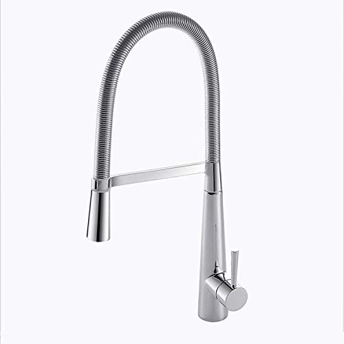 fyeer Modern Commercial Lead Free brass,and chrome finish Single Handle Pull Down Sprayer Spring Kitchen Faucet