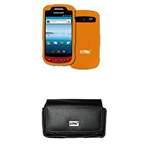 Viesrod EMPIRE Black Leather Case Pouch with Belt Clip and Belt Loops + Orange Rubberized Snap-On Cover Case for Verizon...