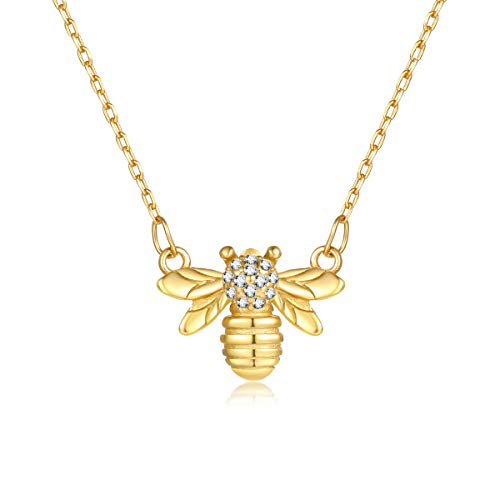 Charm Necklace Bee (VACRONA Gold Bumblebee Pendant Necklaces,18K Gold Filled Dainty Handmade Cubic Zirconia Charm Honey Bee Necklaces for Women)
