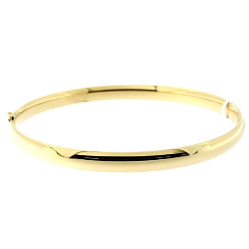 14k Yellow, White Or Rose Gold 5 Millimeters Polished Bangle Bracelet, 7 Inches 8 Inches