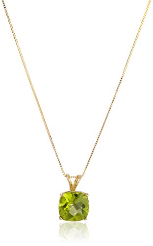 14k Yellow Gold Cushion Checkerboard Peridot Pendant Necklace (8mm)