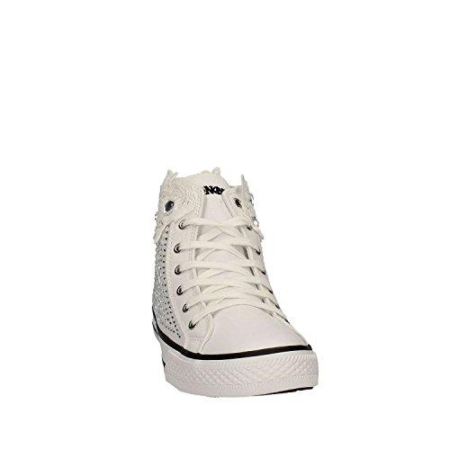 Df914 Caf Blanches Bianco Femmes Cafè Tissu Noir Chaussures Mi Sheakers Strass A4RjL35q