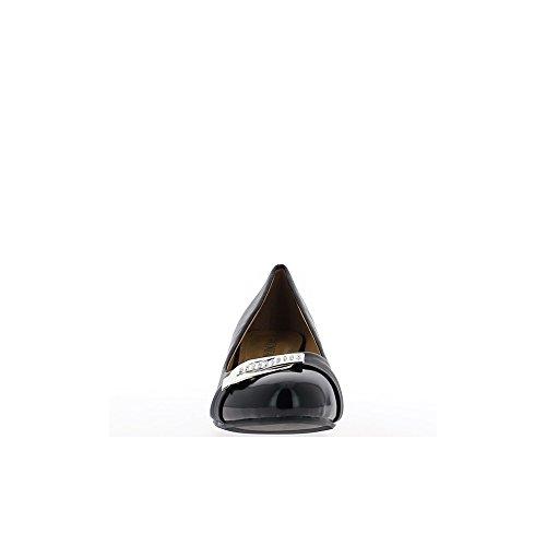 Escarpins compensés grande taille noirs talon de 5,5cm bout vernis