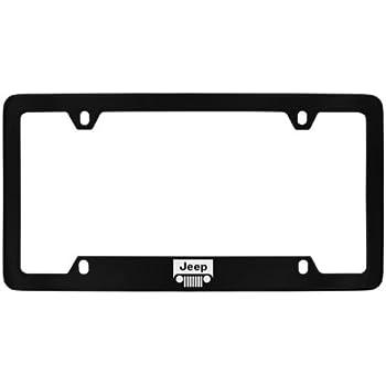 Jeep Logo License Plate Frame Holder (4 Hole/Brass, Black/Bottom)
