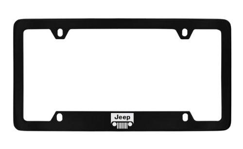 Jeep Logo License Plate Frame Holder (4 Hole / Brass, Black / Bottom)