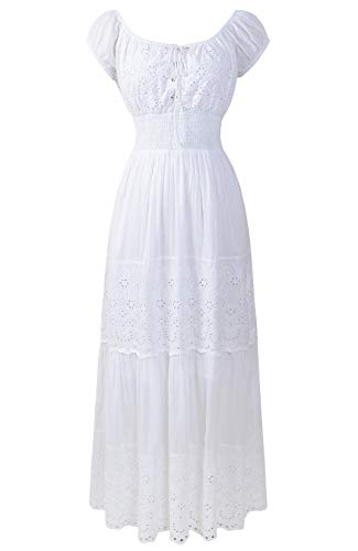 - Renaissance Victorian Medieval Eyelet Off Shoulder Bohemian Lace Up Peasant Gown Maxi Dress (XL, White)