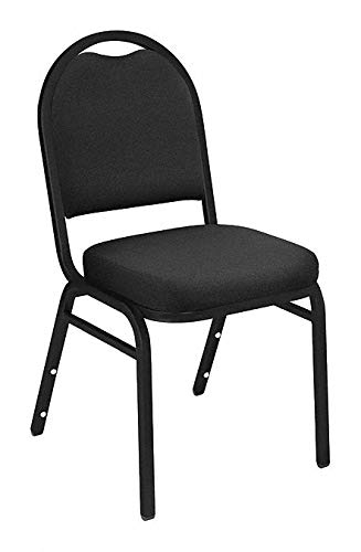 Dome 2 Fabric - National Public Seating Dome-Back Stacking Chairs, Fabric, Ebony Black/Black, Set of 2