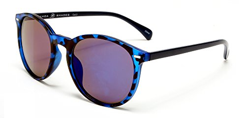 Samba Shades Florence Classic Round Wayfarer Sunglasses with Blue Tortoise Shell Frame, Black Temples, Grey - Round Subglasses