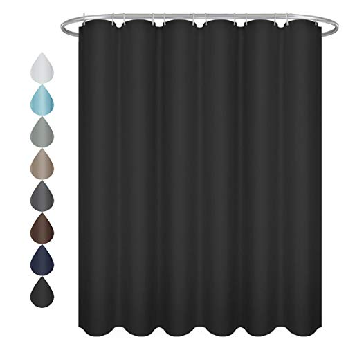 (Eforgift Waterproof Shower Curtain Standalone Fabric, Solid Black Shower Curtain for Home and Hotel Elegant Decor, Standard Square, 72 x 72-inch)