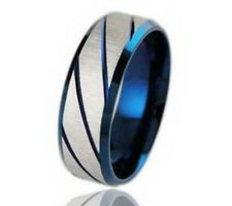Dan Smatree Accessories Men's Titanium Stainless Steel Blue Satin Finish Diagonal Grooved Ring and Band Size 10