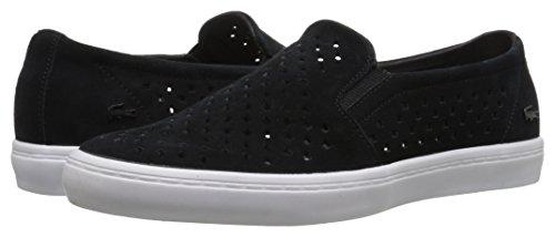 Lacoste Women's Gazon Slip on 216 1 Flat, Black/White, 6.5 M US