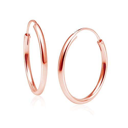 (Sterling Silver 2mm x 30mm Endless Hoop Earrings Round Lightweight Unisex, All Sizes Rose Gold Flashed Finish)